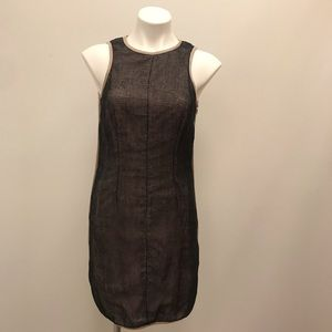 Sea New York Black Netted Dress With Nude Piping